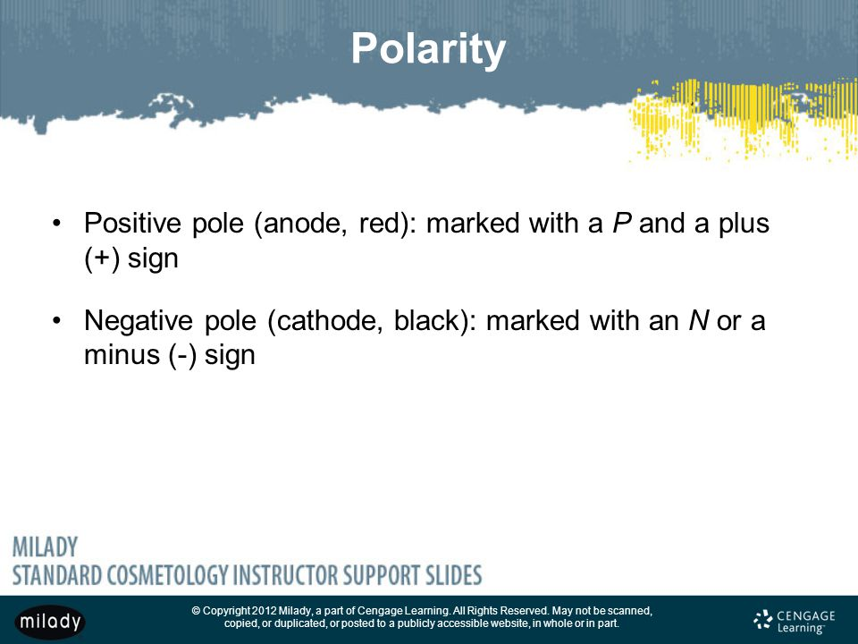 Polarity Positive pole (anode, red): marked with a P and a plus (+) sign. Negative pole (cathode, black): marked with an N or a minus (-) sign.