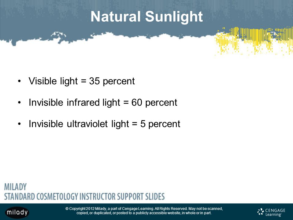 Natural Sunlight Visible light = 35 percent