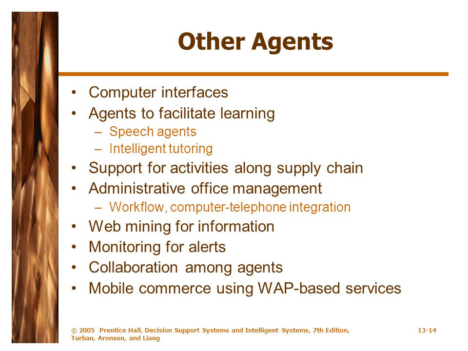 Other Agents Computer interfaces Agents to facilitate learning