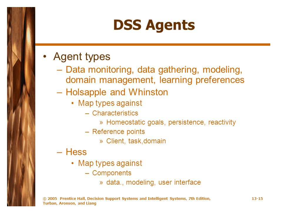 DSS Agents Agent types. Data monitoring, data gathering, modeling, domain management, learning preferences.