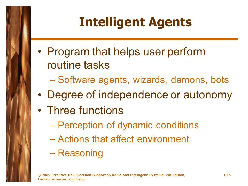 Intelligent Agents Program that helps user perform routine tasks