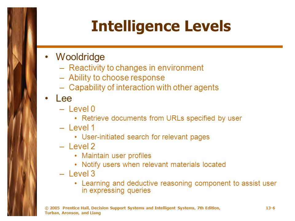 Intelligence Levels Wooldridge Lee