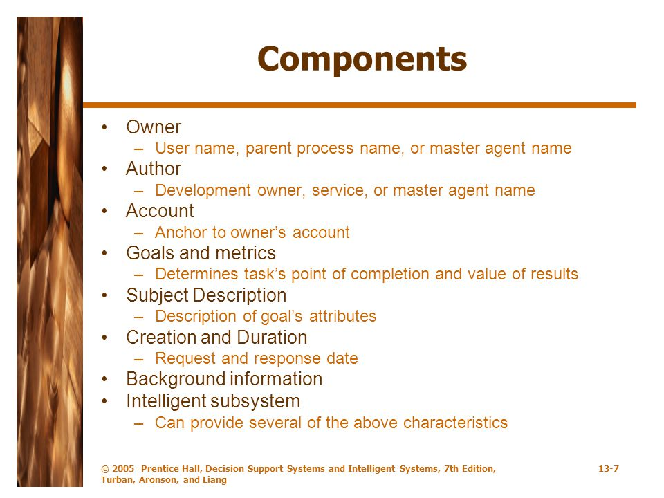 Components Owner Author Account Goals and metrics Subject Description