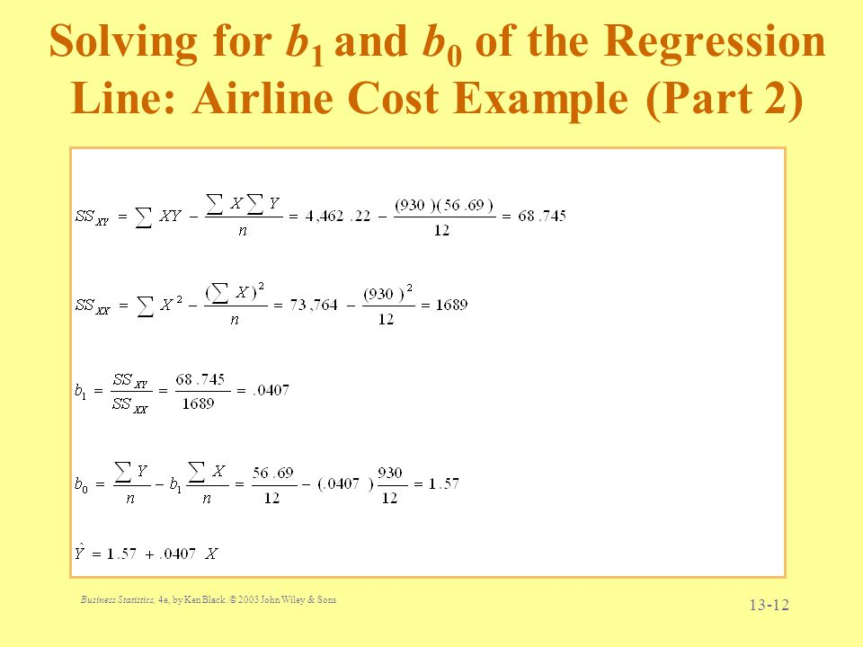 Solving for b1 and b0 of the Regression Line: Airline Cost Example (Part 2)