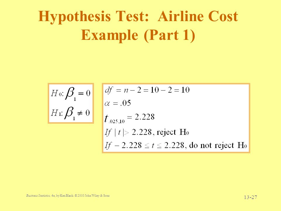 Hypothesis Test: Airline Cost Example (Part 1)