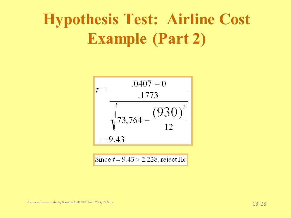 Hypothesis Test: Airline Cost Example (Part 2)