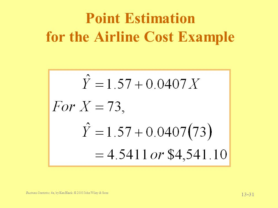 Point Estimation for the Airline Cost Example