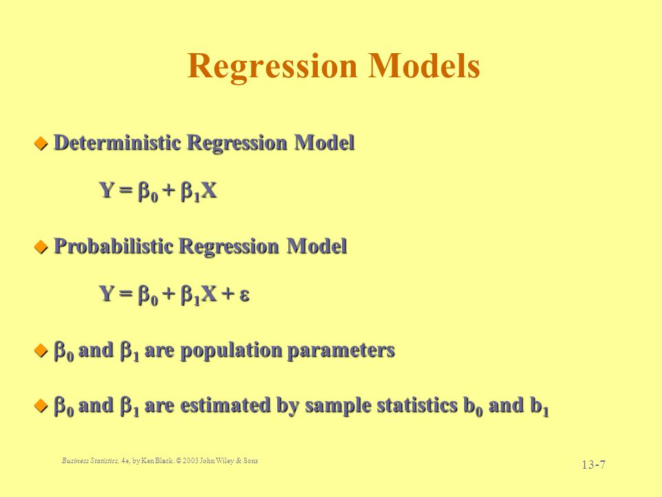 Regression Models Deterministic Regression Model Y = 0 + 1X