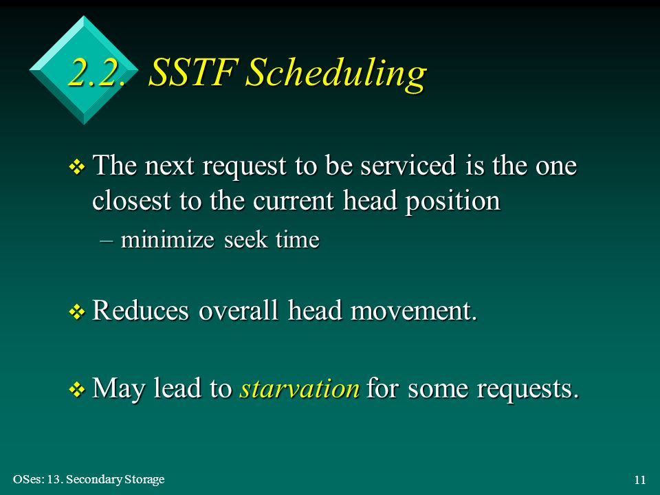 2.2. SSTF Scheduling The next request to be serviced is the one closest to the current head position.
