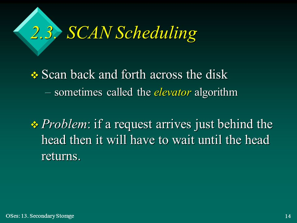2.3. SCAN Scheduling Scan back and forth across the disk