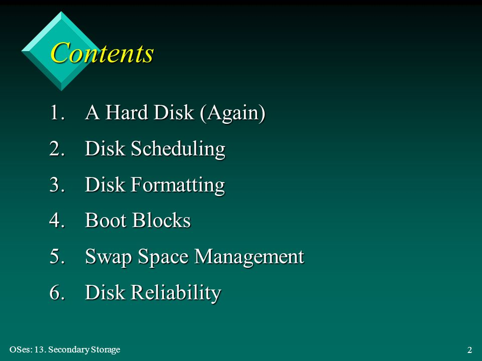 Contents 1. A Hard Disk (Again) 2. Disk Scheduling 3. Disk Formatting