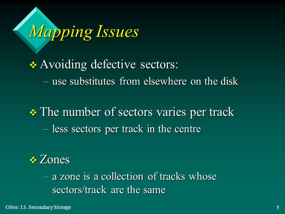 Mapping Issues Avoiding defective sectors: