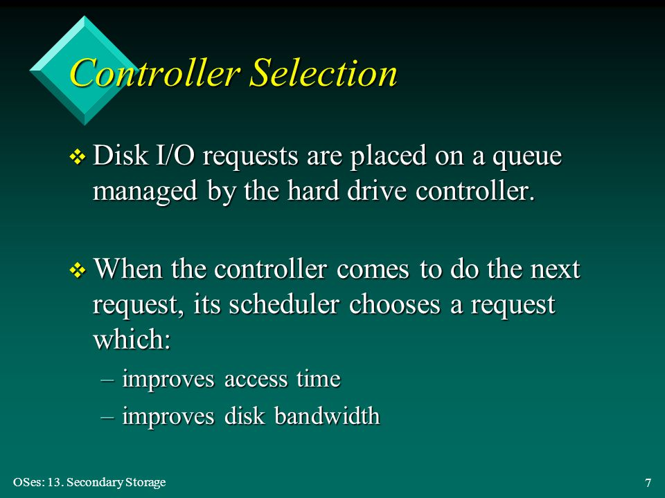 Controller Selection Disk I/O requests are placed on a queue managed by the hard drive controller.