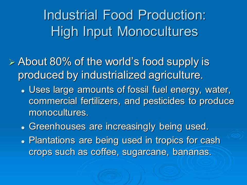 Industrial Food Production: High Input Monocultures