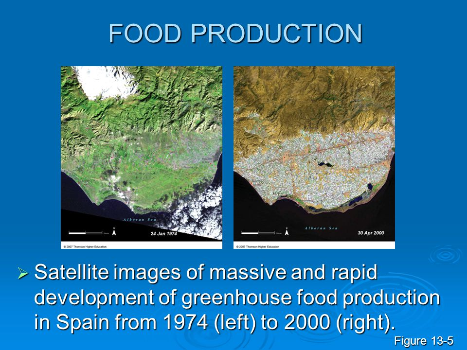FOOD PRODUCTION Satellite images of massive and rapid development of greenhouse food production in Spain from 1974 (left) to 2000 (right).
