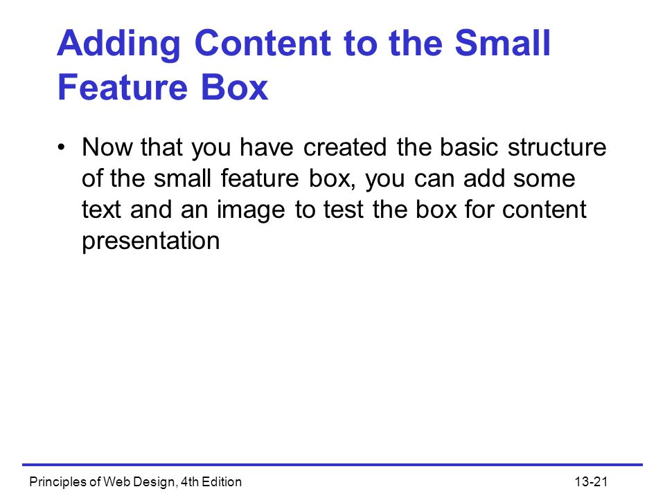 Adding Content to the Small Feature Box