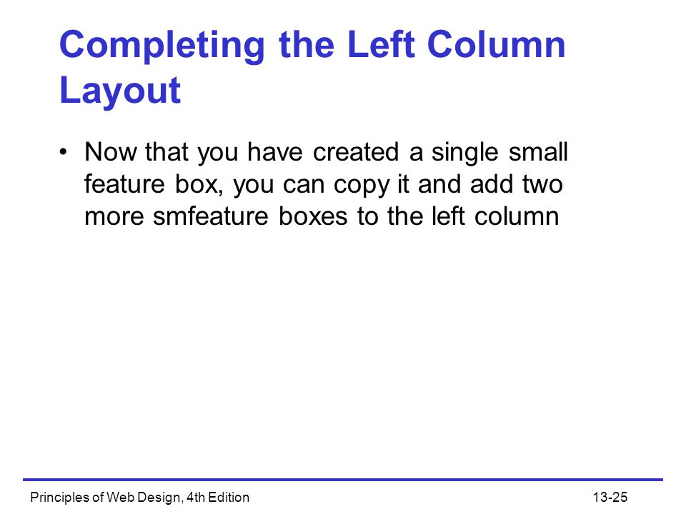 Completing the Left Column Layout