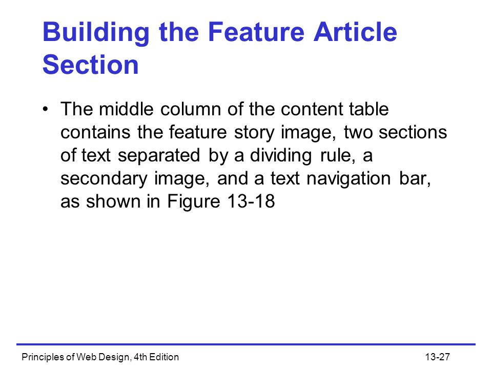 Building the Feature Article Section