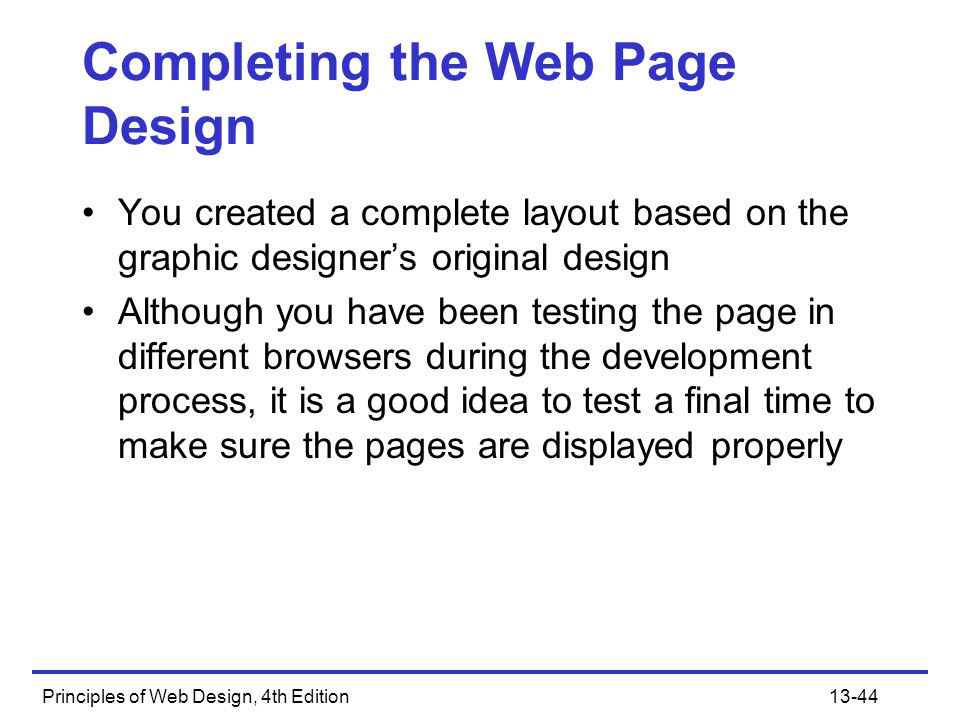 Completing the Web Page Design
