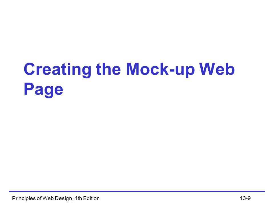 Creating the Mock-up Web Page