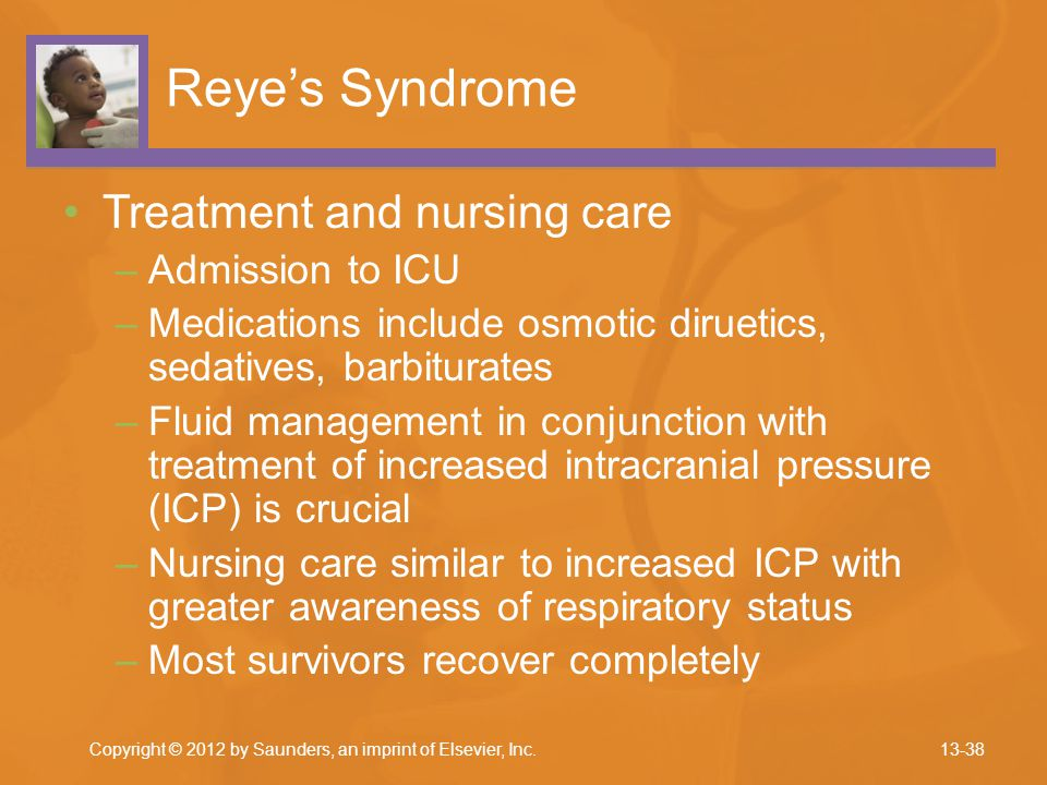 Reye's Syndrome Treatment and nursing care Admission to ICU