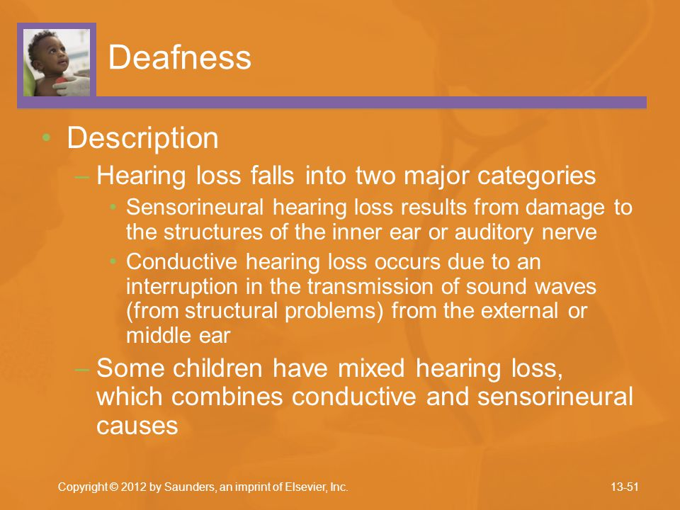 Deafness Description Hearing loss falls into two major categories