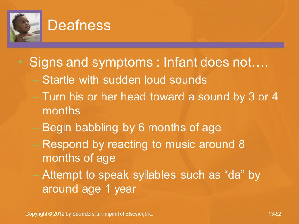 Deafness Signs and symptoms : Infant does not….