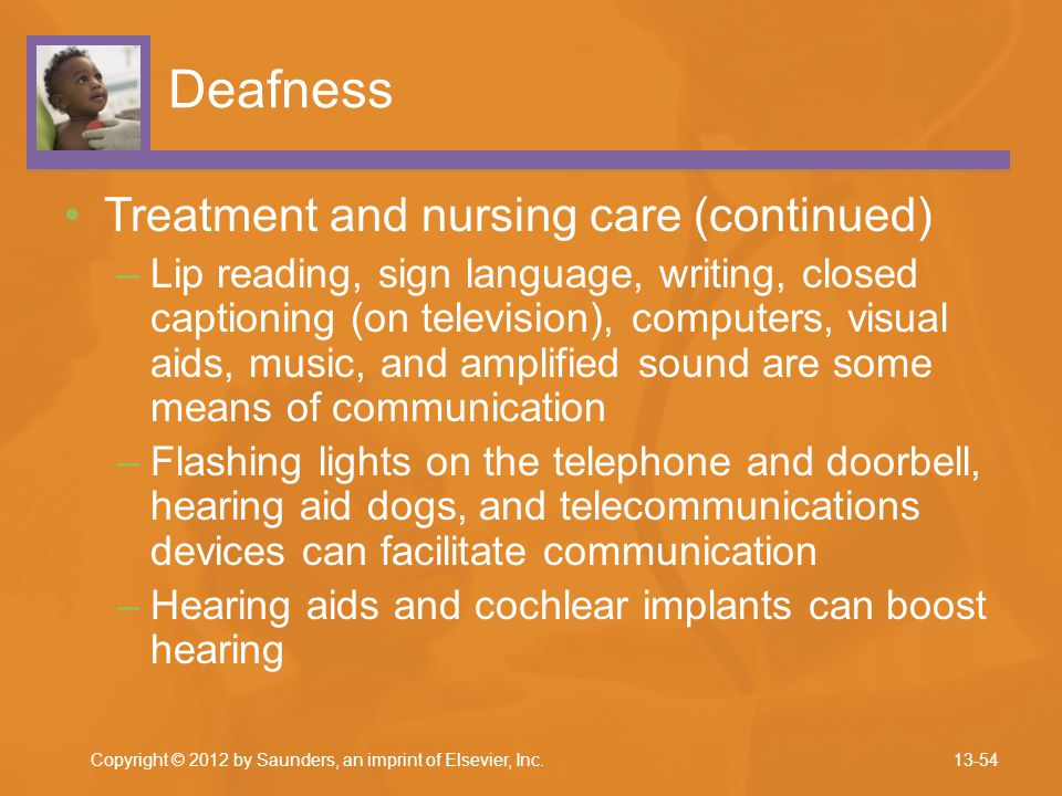Deafness Treatment and nursing care (continued)