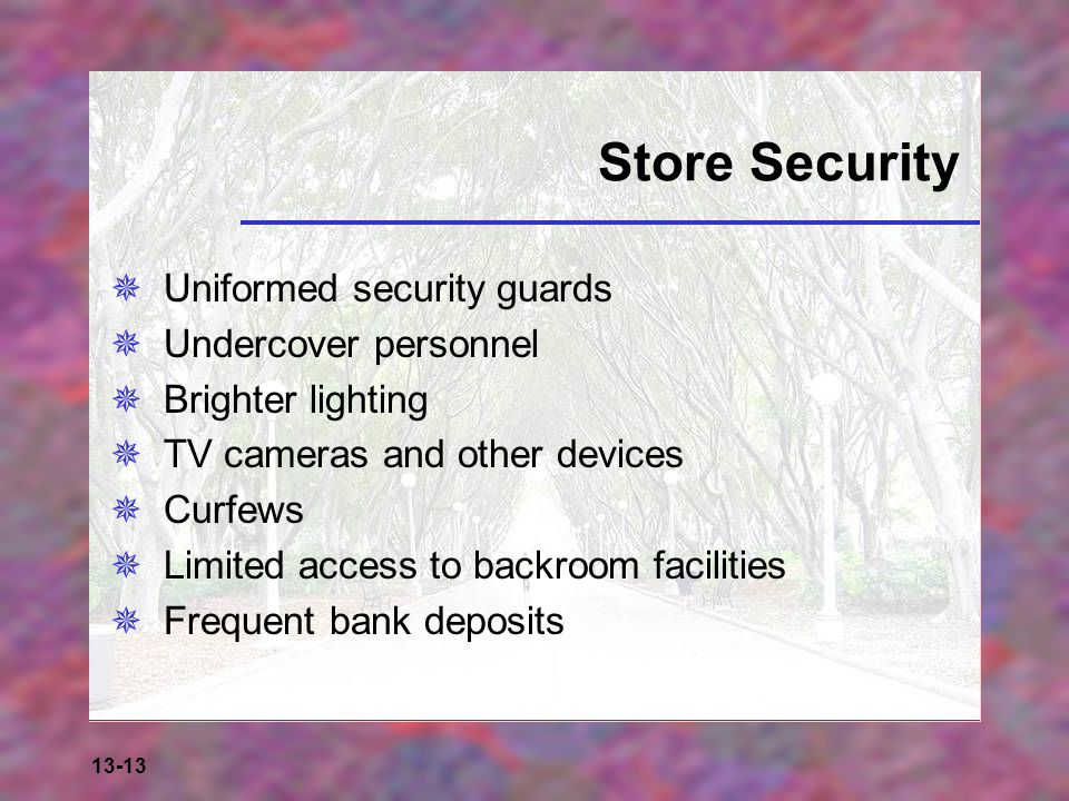 Store Security Uniformed security guards Undercover personnel