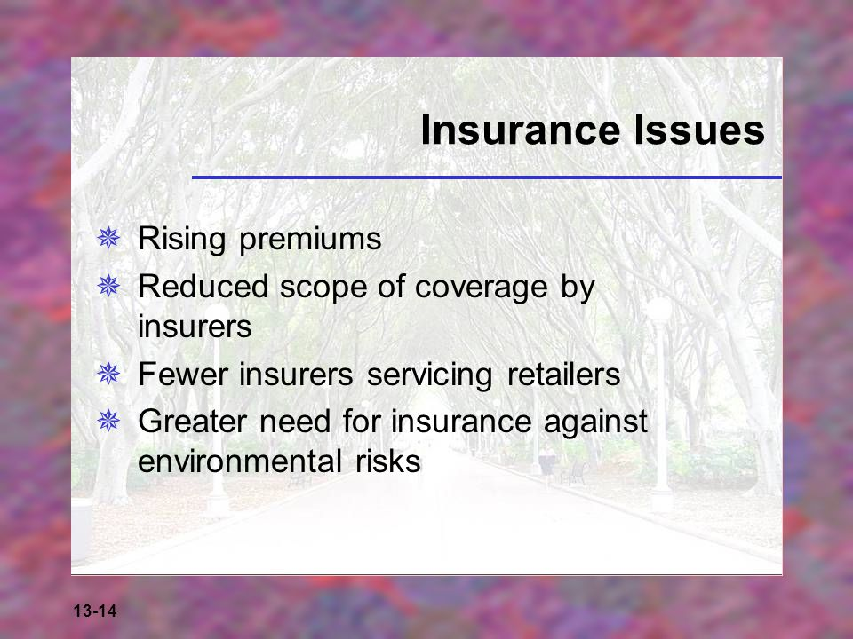 Insurance Issues Rising premiums Reduced scope of coverage by insurers