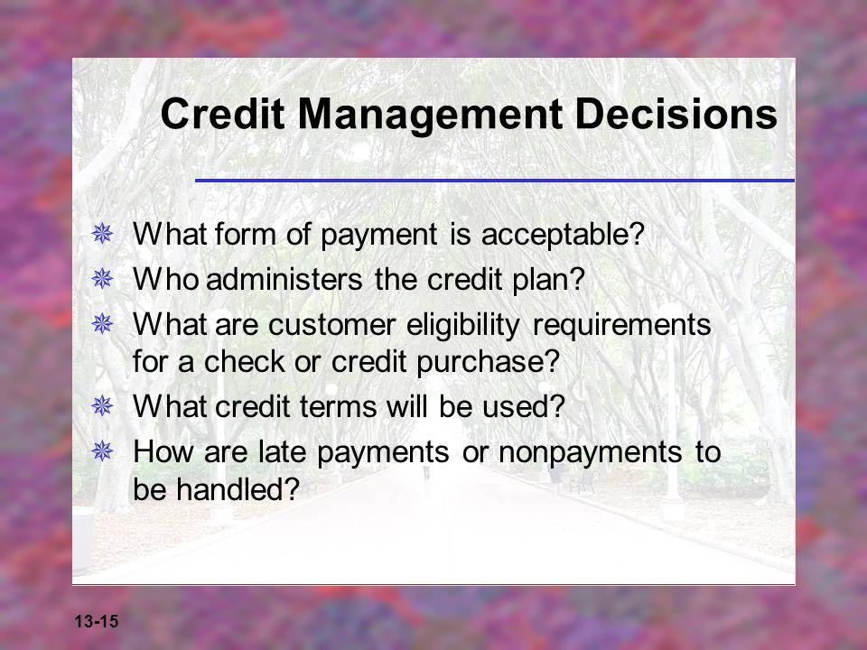 Credit Management Decisions