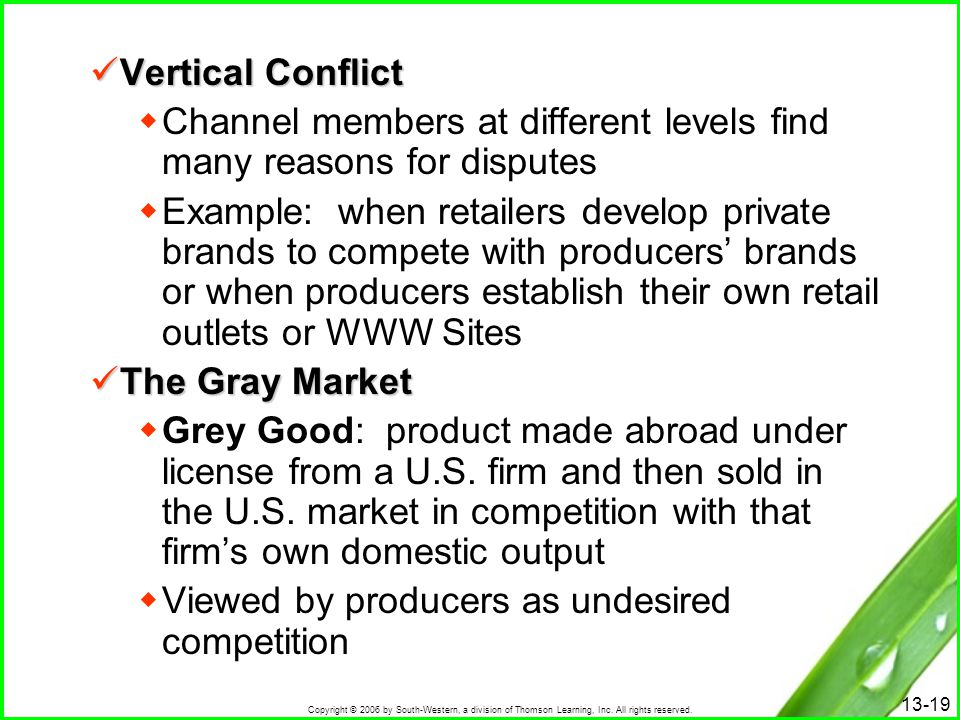 Vertical Conflict Channel members at different levels find many reasons for disputes.