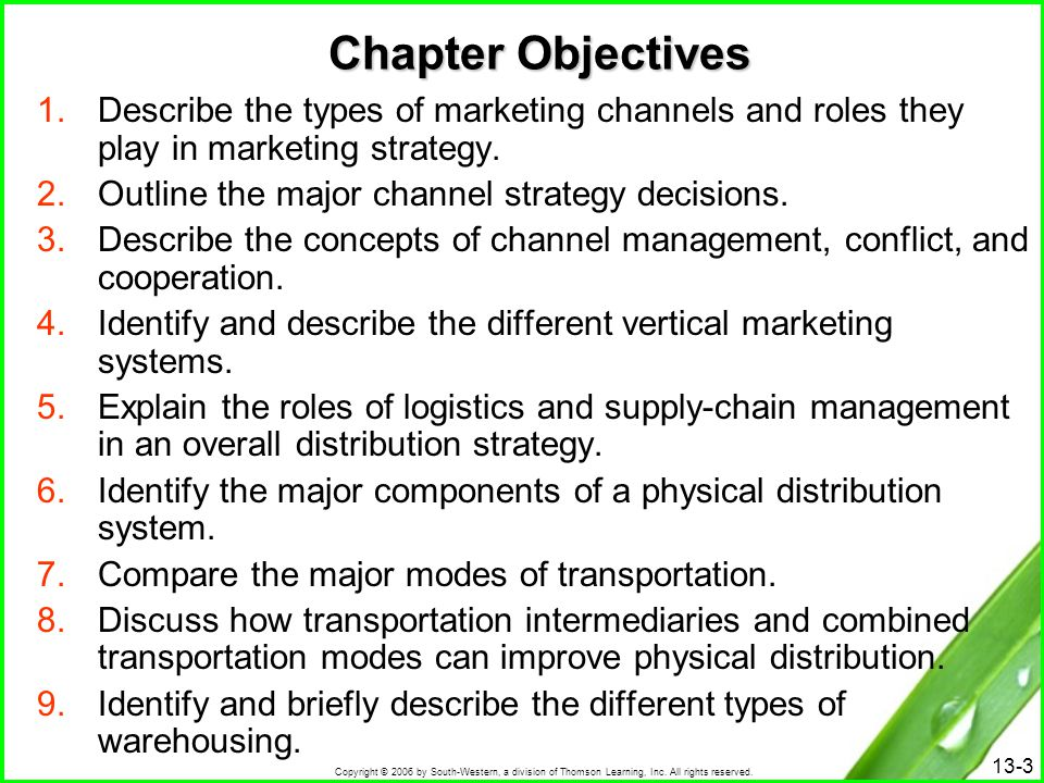 Chapter Objectives Describe the types of marketing channels and roles they play in marketing strategy.