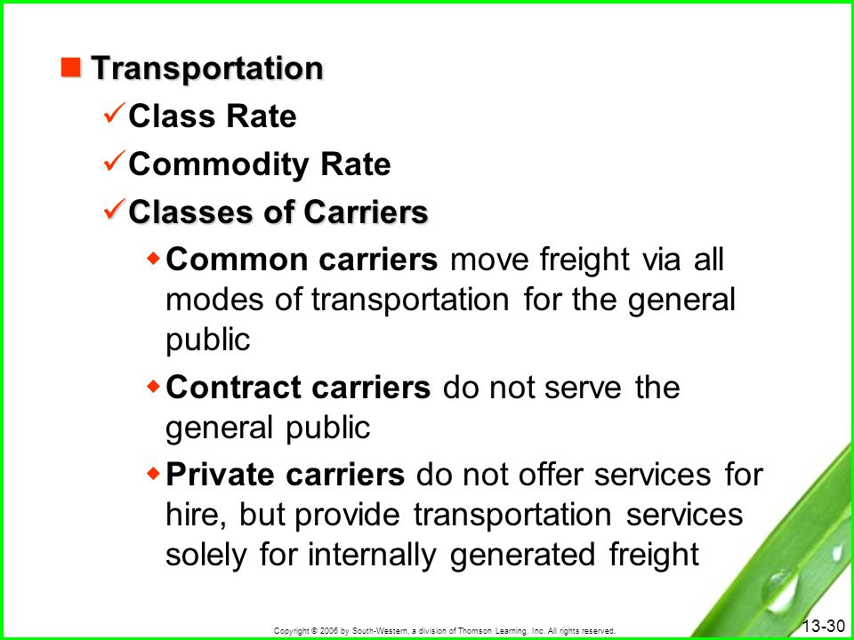 Transportation Class Rate. Commodity Rate. Classes of Carriers.