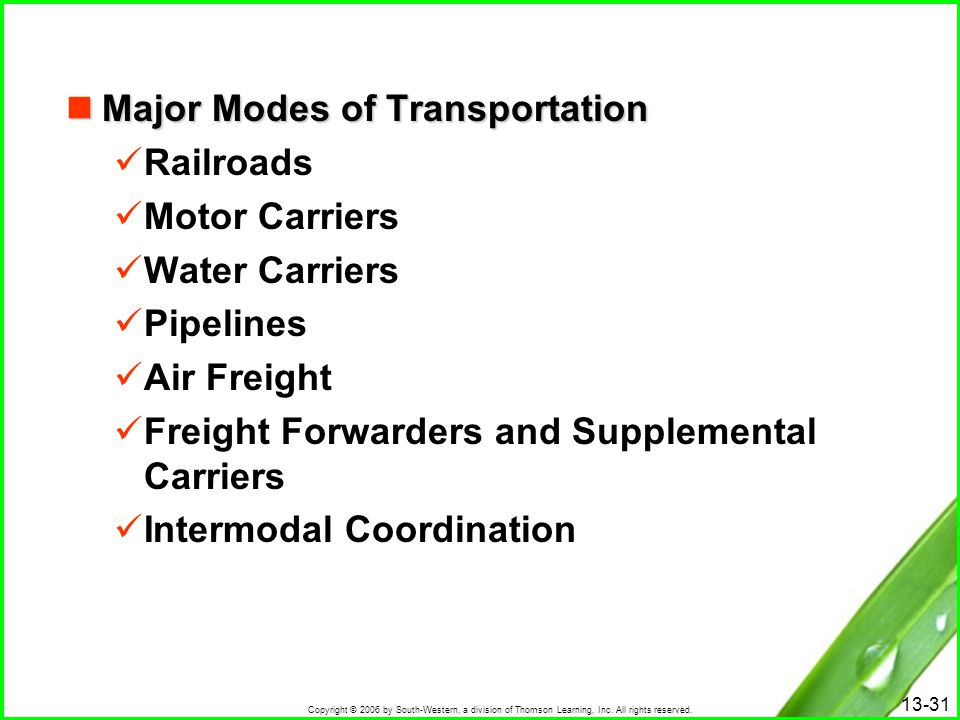 Major Modes of Transportation