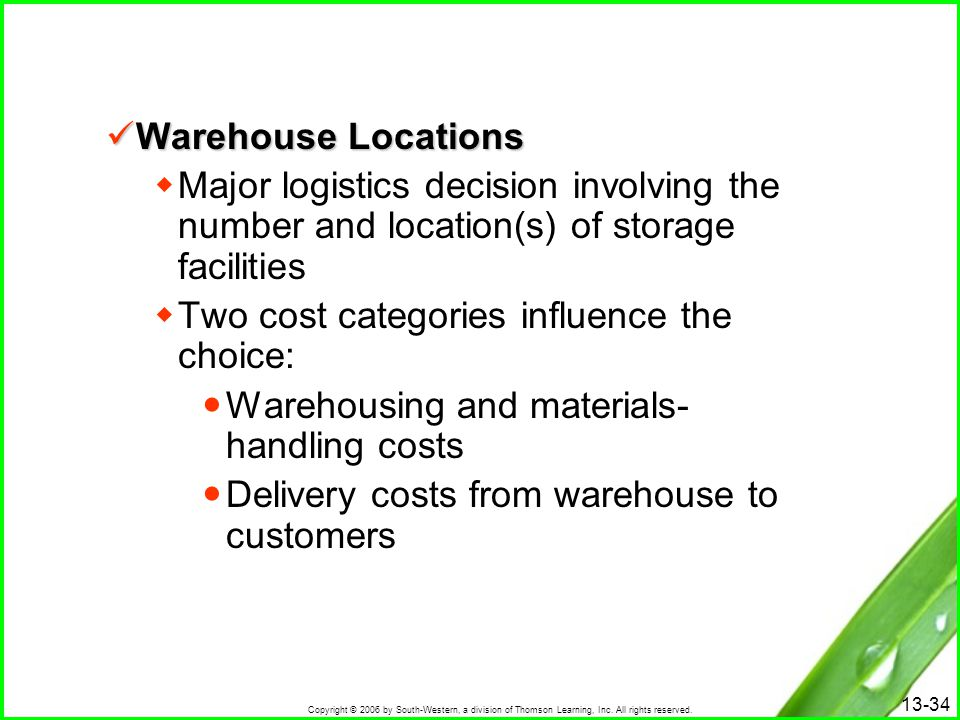 Warehouse Locations Major logistics decision involving the number and location(s) of storage facilities.