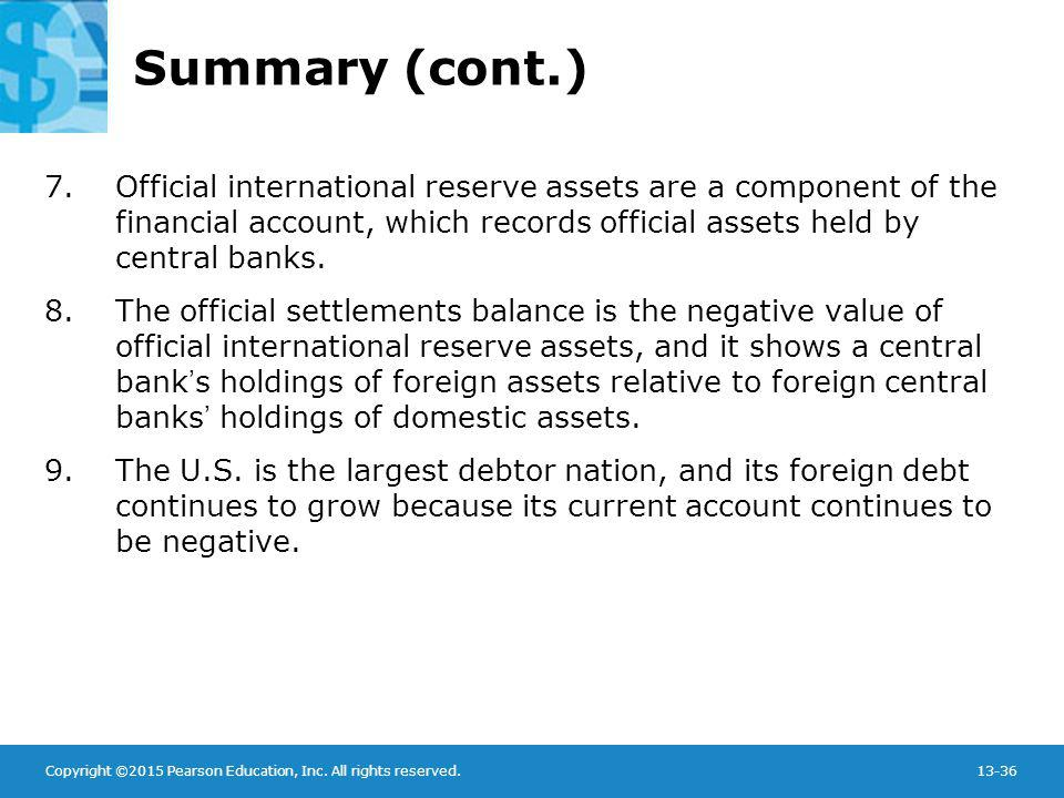Summary (cont.) Official international reserve assets are a component of the financial account, which records official assets held by central banks.