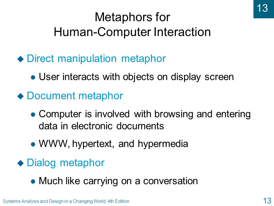 Metaphors for Human-Computer Interaction