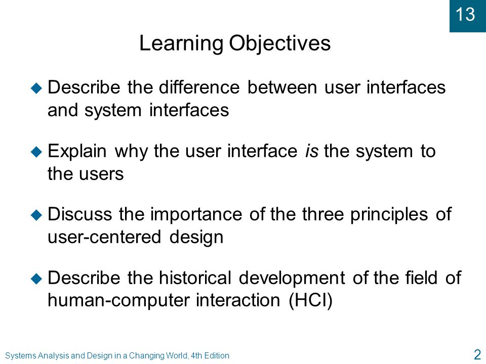 Learning Objectives Describe the difference between user interfaces and system interfaces.