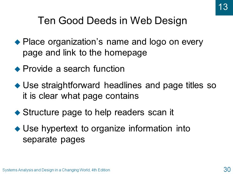 Ten Good Deeds in Web Design