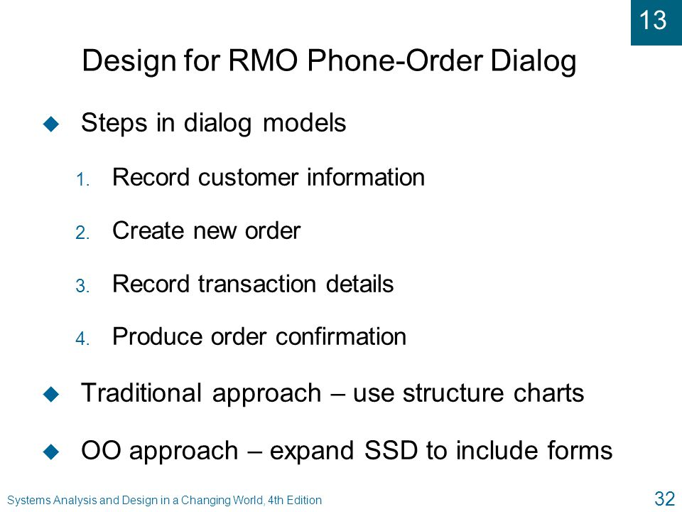 Design for RMO Phone-Order Dialog