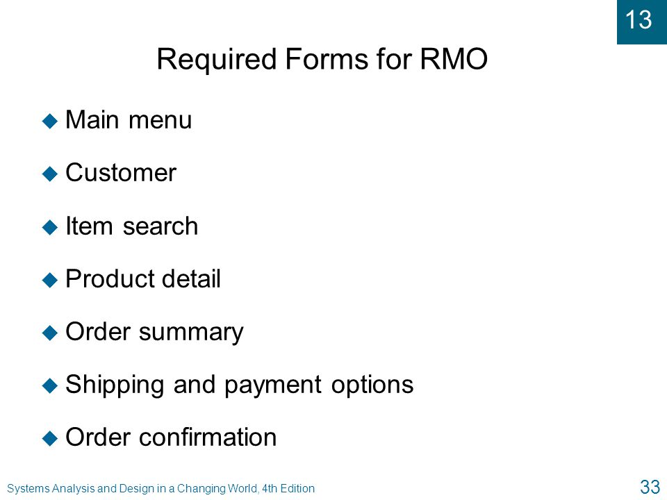 Required Forms for RMO Main menu Customer Item search Product detail