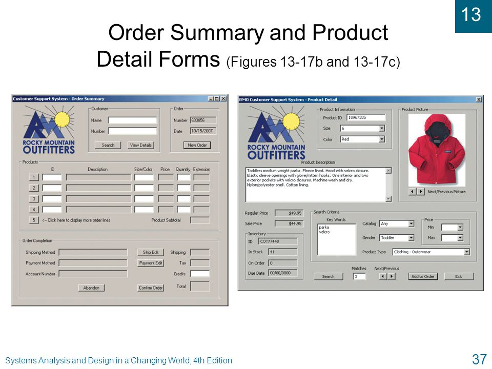 Order Summary and Product Detail Forms (Figures 13-17b and 13-17c)