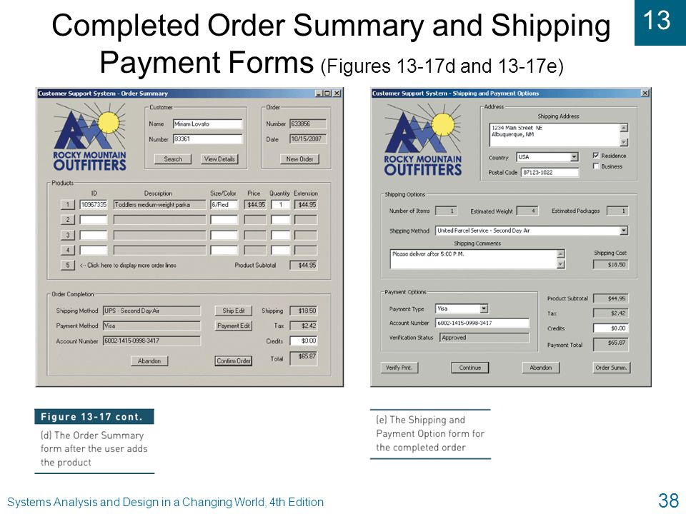 Completed Order Summary and Shipping Payment Forms (Figures 13-17d and 13-17e)