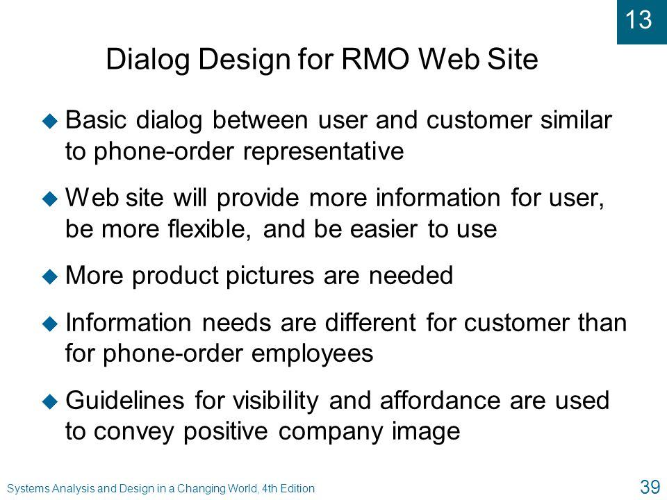 Dialog Design for RMO Web Site