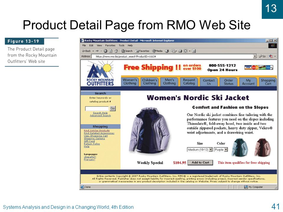 Product Detail Page from RMO Web Site
