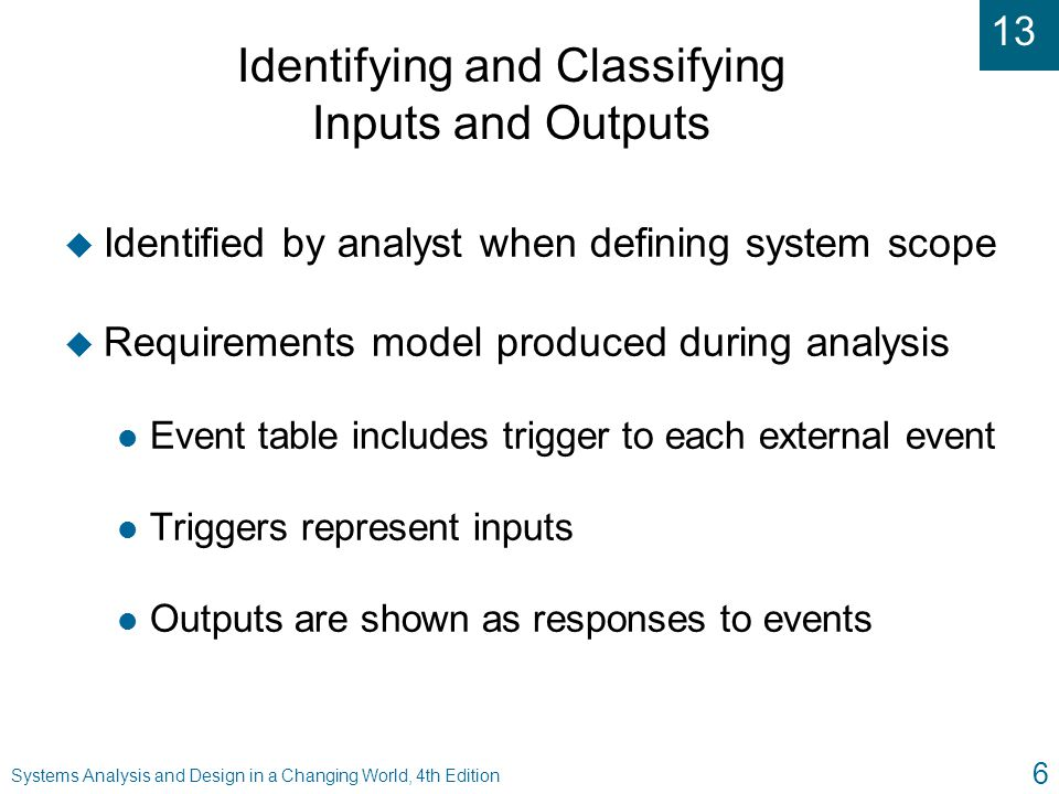 Identifying and Classifying Inputs and Outputs