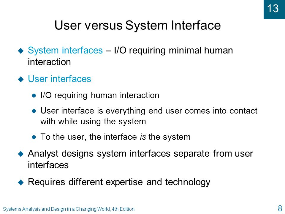 User versus System Interface