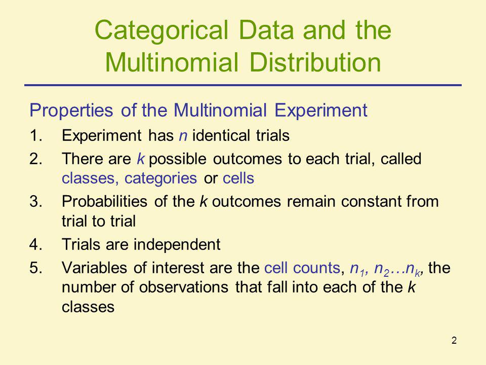 Categorical Data and the Multinomial Distribution