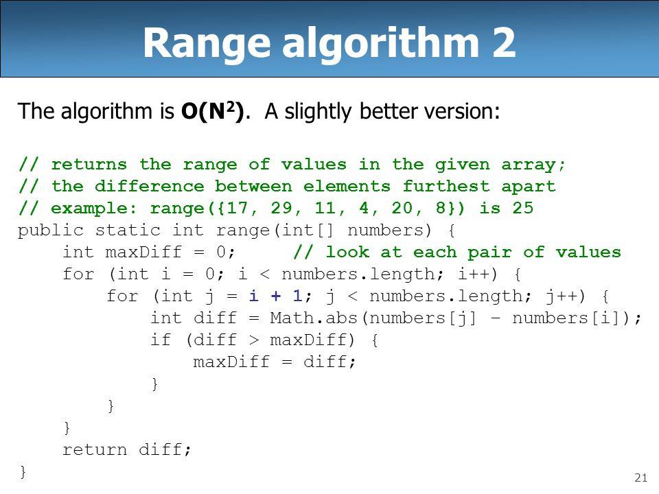 Range algorithm 2 The algorithm is O(N2). A slightly better version: